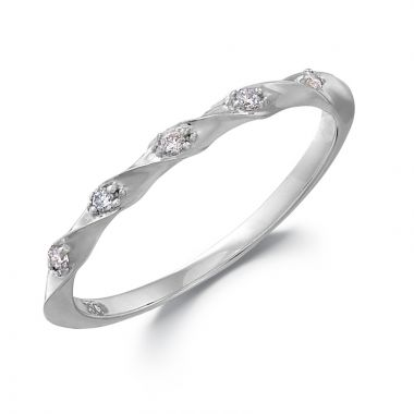 Peter Storm 14k White Gold Curved Wedding Band
