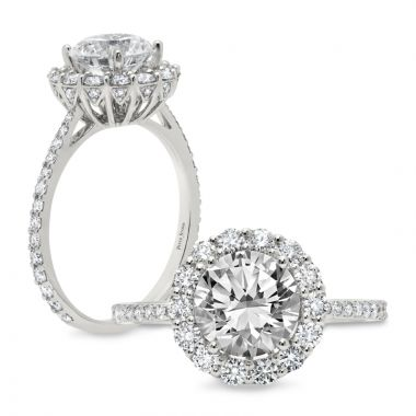 Peter Storm 14k White Gold Halo Engagement Rings
