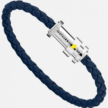 Montblanc Bracelet In Woven Blue Leather With Three Rings
